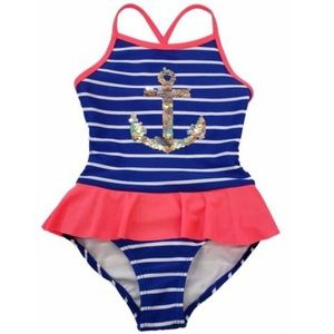NWT Cat & Jack Sequin Anchor Ruffle Swimsuit